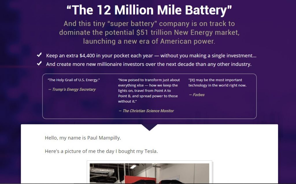 The 12 Million Mile Battery by Paul Mampilly
