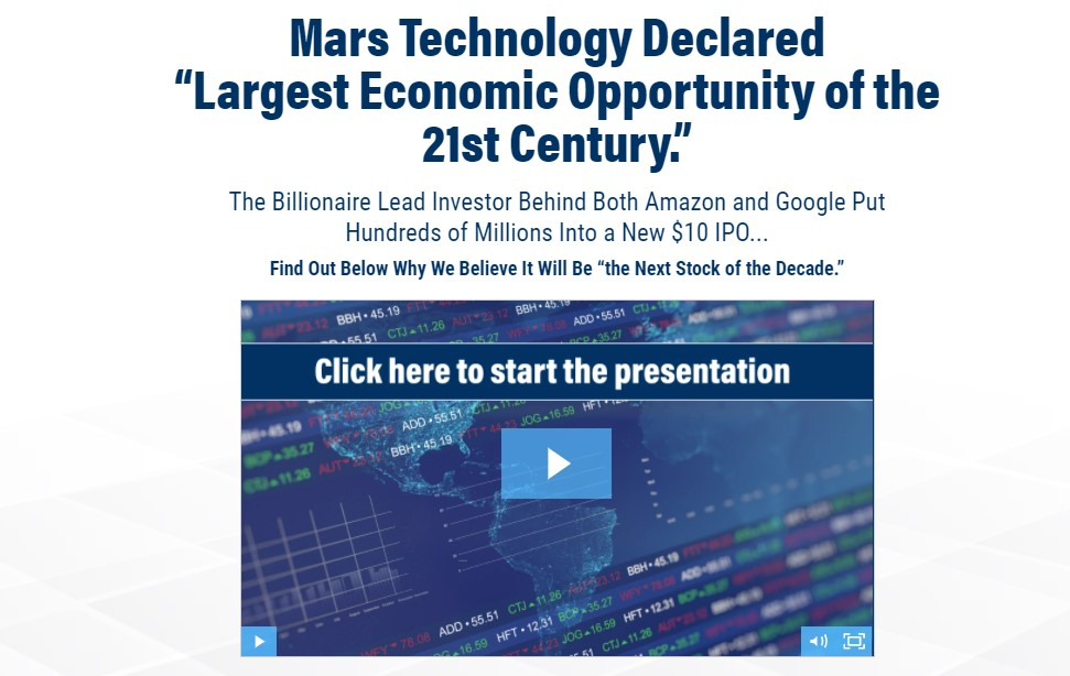 """Mars Technology Declared """"Largest Economic Opportunity of the 21st Century"""