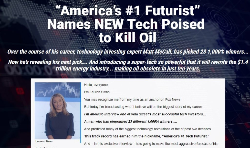New Tech Poised to Kill Oil by Matt McCall
