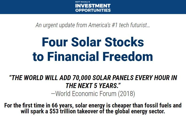 Matt McCall's 4 Solar Stocks
