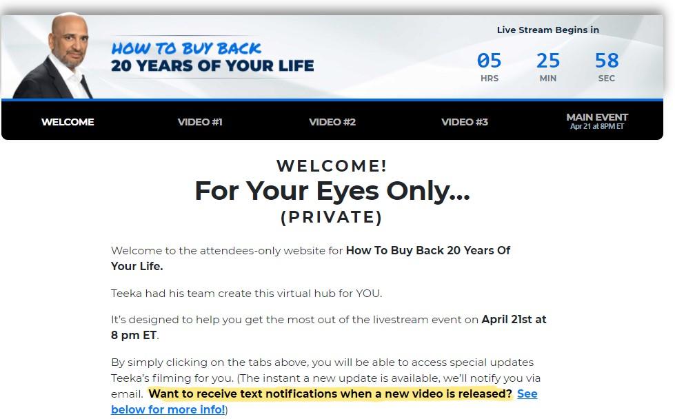 Teeka Tiwari's Buy Back 20 Years Event